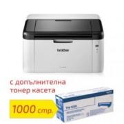 Лазерен принтер Brother HL-1210WE в комплект с оригинална тонер касета TN-1030, монохромен, 2400 x 600 dpi, 20стр/мин, Wi-Fi 802.11n, USB 2.0, A4, 2+1 г.