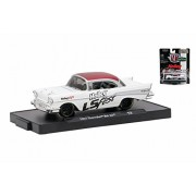 Castline M2 1957 Chevy Bel Air, White w/Red 11228/48-1/64 Scale Diecast Model Toy Car