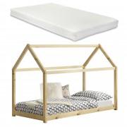 [en.casa]® Kiságy fenyőfa gyermekágy matraccal 200 x 90 cm ház-design fenyőfa