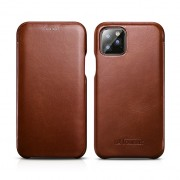 ICARER Curved Edge Retro Genuine Leather Cell Shell Cover for iPhone 11 Pro Max 6.5 inch - Coffee