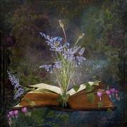 Werk aan de Muur Schilderij Book of inspiration - bloemen - Poster - 65x65
