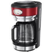 Cafetiera Russell Hobbs Retro Ribbon Red 21700-56, 1000 W, 1,25 l, Tehnologie avansata cu dus, Functie pause and pour, Mentinere la cald (Rosu/Inox)