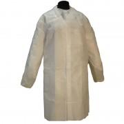 Bata Desechable de Polipropileno Cor Branca sem Bolsos com Fechamento de Velcro (50 unidades)