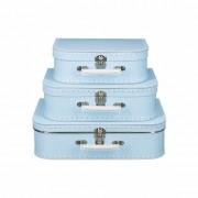 Merkloos Vintage koffertje licht blauw witte stipjes 25 cm