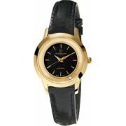 Ceas de dama Swiss Made Auriu Cadran Negru 1 diamant curea piele neagra Christina Watches Collect