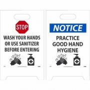 National Marker Pandemic Signage, Sign Message STOP WASH YOUR HANDS OR USE SANITIZER, Product Type Sign, Length 19, Model FS48