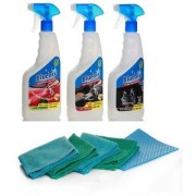 BlueOXY Waterless Car Wash Kit + 4 Numbers Of Microfiber Towels Cellulose Sponge Applicator