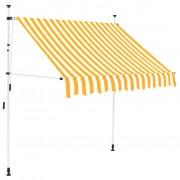 vidaXL vidaXL Copertină retractabilă manual, 200 cm, dungi galben și alb