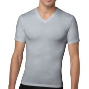 SPANX For Men Cotton Compression V Neck Short Sleeved T Shirt Heather Grey 610