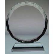 Trofeu de cristal rotund cu mesaj