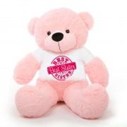 5 feet big pink teddy bear wearing special Best Sister T-shirt
