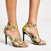 River Island Womens Green wide fit print triple strap sandal (3)