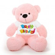 Pink 5 feet Big Teddy Bear wearing a Colorful Happy Birthday T-shirt