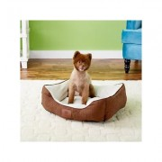 American Kennel Club Box Weave Design Bolster Cat & Dog Bed, Brown