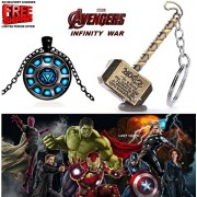 2 Pc AVENGER SET - THOR HAMMER - GOLD COLOUR METAL KEYCHAIN & IRONMAN ARC REACTOR BLACK METAL 3D GLASS DOME IMPORTED PENDANT WITH CHAIN ❤ LATEST ARRIVALS - RINGS, KEYCHAINS, BRACELET & T SHIRT - CAPTAIN AMERICA - AVENGERS - MARVEL - SHIELD - IRONMAN - HUL