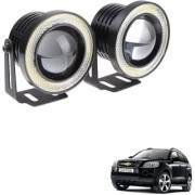 Auto Addict 3.5 High Power Led Projector Fog Light Cob with White Angel Eye Ring 15W Set of 2 For Chevrolet Captiva