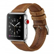 Popular Crazy Horse Top Layer Cowhide Leather Watch Strap for Apple Watch Series 5 4 40mm, Series 3 / 2 / 1 38mm - Brown