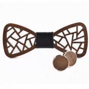 Dřevěný motýlek s manžetovými knoflíčky Gaira 709029