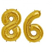 De-Ultimate Solid Golden Color 2 Digit Number (86) 3d Foil Balloon for Birthday Celebration Anniversary Parties