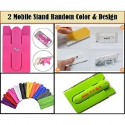 Silicone 3-in-1 Card Cling Pocket ID Holder Sleeve Phone Stand Storage Snap Stand in One Cord Wrap Clip Self Adhesive Combo of 2 ( Assorted Color )