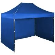 Gyorsan összecsukható sátor 2x3 m – acél, Kék, 3 oldalfal