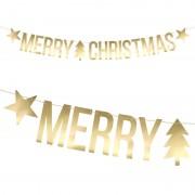 Merry Christmas Banderoll Guld