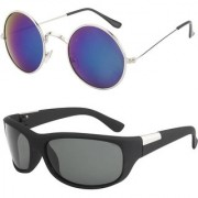 O positive Wrap-around Sunglasses & Round Sunglass Combo
