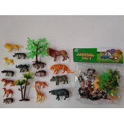 Siddhi Vinayak Wild Zoo Animal Plastic Figures Set for Kids (Small, Multicolour) - Pack of 16 Animals