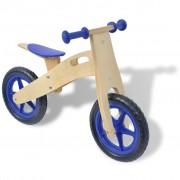 vidaXL Детски велосипед за балансиране, дърво, син