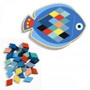 DJECO Drewniana układanka - mozaika rybka 3+ zestaw z kartami do odwzorowywania , DJ01692