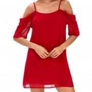 Vestido Casual E-Thinker para mujer con tirantes y de gasa - Rojo