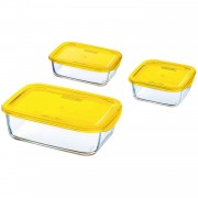 Luminarc Keep 'n Box vershoudbak glas - geel - Set-3