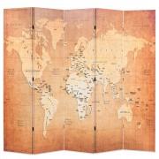vidaXL Сгъваем параван за стая, 200x170 см, карта на света, жълт