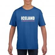 Shoppartners Blauw IJsland supporter t-shirt voor kinderen