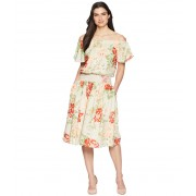 Donna Morgan Off the Shoulder Linen Dress with Smocked Waist BeigeRed Multi