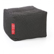 Style Homez Square Cotton Canvas Polka Dots Printed Bean Bag Ottoman Stool Large with Beans Black Color