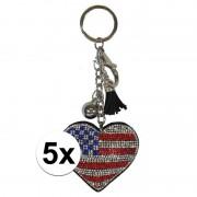 Geen 5x Sleutelhangers Amerikaanse/USA vlag 15 cm