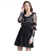 Texco Women Black Cotton Scoop neck Ruffled Embroidered Dress