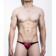 Mategear Kum Ja Abstract Translucent Fabric Overlay Mini Bikini Swimwear Red/Blue 1081202