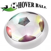 Ericy Kids Air Power Soccer, Hockey Football Disk Hover Game Bumpers & Colorful LED Lights, Indoor Outdoor Gliding Ball with Parents or 4 Boys Girls Team Games for Kids Toys Christmas Gift-White