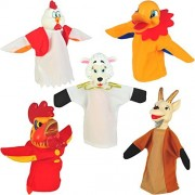 "Set of 5 Animal Hand Puppets 10"" VINYL HEADS Farm Animals"