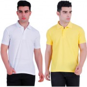 Stars Collection Men's Cotton Polo T- Shirt Comfortable and Stylish T-Shirts with Half Sleeves White and Yellow