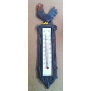 Cast iron rooster thermomenter wall hanger