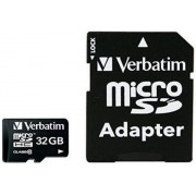Card de memorie Verbatim 44083, microSDHC, 32 GB, Clasa 10 + Adaptor SD