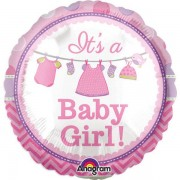 Baby Shower It's a Baby Girl Ballong Folie Rund
