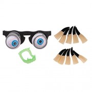 MagiDeal Pop Out Eye Gag Glasses Spring Droopy EyeGlow in the Dark Fake Fangs Witch Ghost Fingers Halloween Prank Party Joke Toy