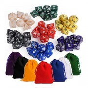 Kuuqa 7 x7 (49 Pieces) Dice Sets 7 Colors Polyhedral Dice for Table Game Dungeons and Dragons DND MTG RPG D20 D12 D10 D8 D6 D4 7-Dice Complete Set with Colorful Pouches, Mixed color