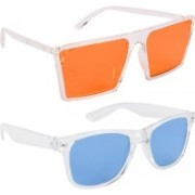 NuVew Wayfarer, Retro Square Sunglasses(Blue, Orange)