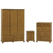 Antique Pine Bedroom Furniture Set (Bedside, 2+3 Deep Chest, 3 Door Large Wardrobe)