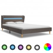 vidaXL Рамка за легло с LED, таупе, плат, 140x200 см